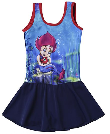 Imagica Neera Character Printed Swimsuit Dress - Navy Blue