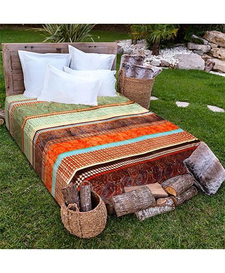 A Homes Grace Floral Stripe Single Bed Flannel Blanket - Multicolour
