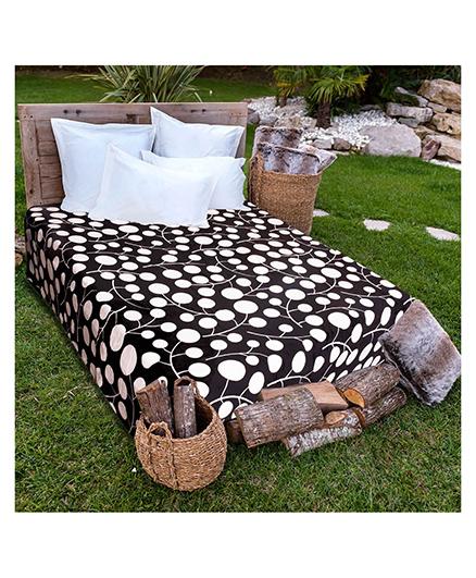 A Homes Grace Single Bed Flannel Blanket Plant Design - Black White