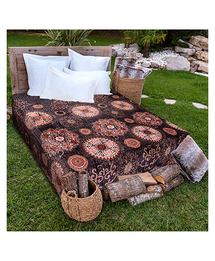 A Homes Grace Single Bed Flannel Blanket - Black Brown