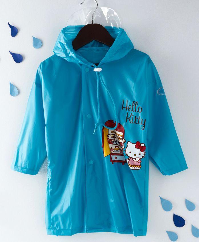 Babyhug Full Sleeves Hooded Raincoat Hello Kitty Print - Blue