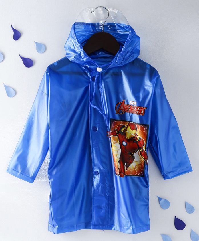 Babyhug Full Sleeves Hooded Raincoat Iron Man Print -Blue