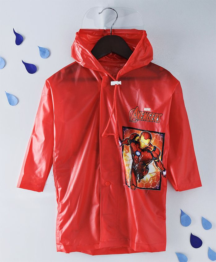 Babyhug Full Sleeves Hooded Raincoat Iron Man Print -Red
