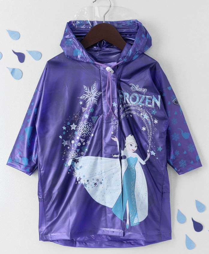 Babyhug Hooded Raincoat Frozen Print - Purple