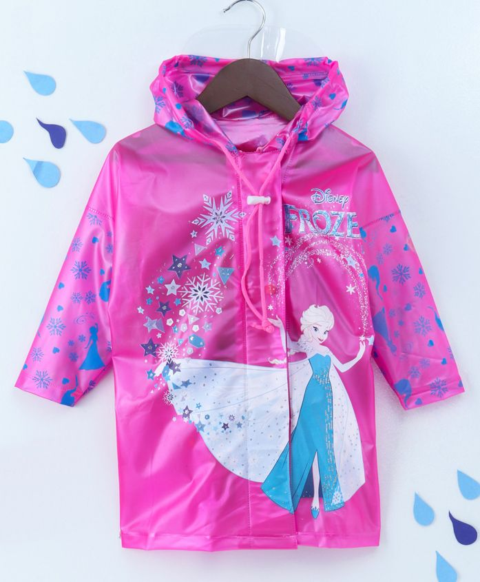 Babyhug Hooded Raincoat Frozen Print - Pink