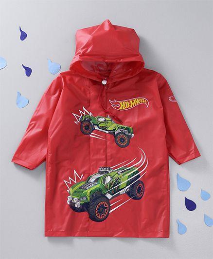 Babyhug Hooded Raincoat Hot Wheels Print - Red