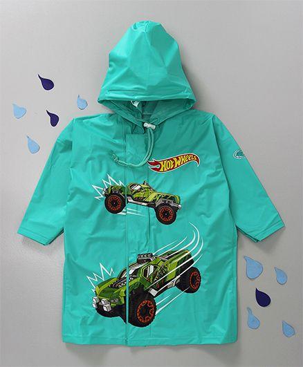 Babyhug Hooded Raincoat Hot Wheels Print - Green