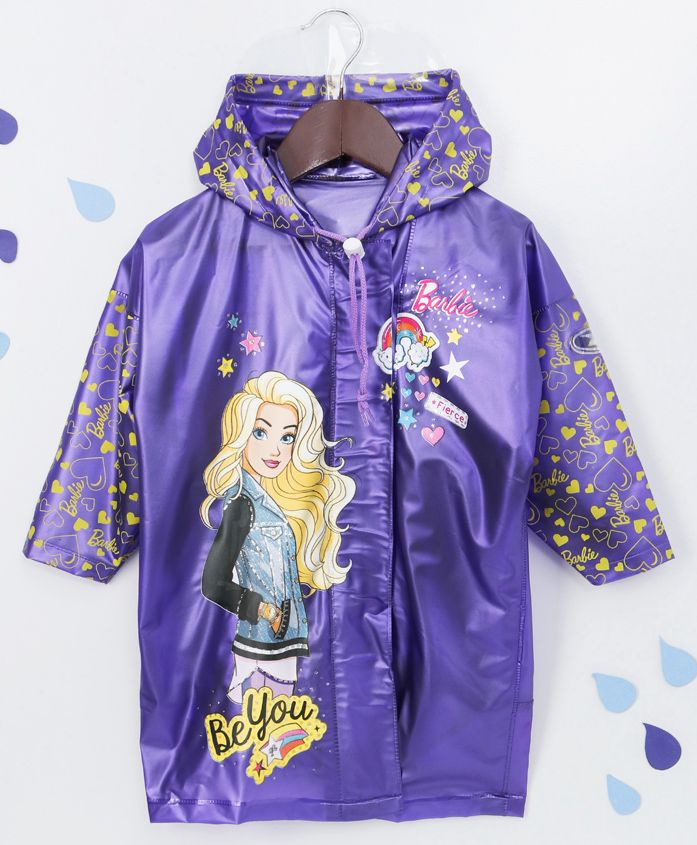 Babyhug Full Sleeves Hooded Raincoat Barbie Print - Purple
