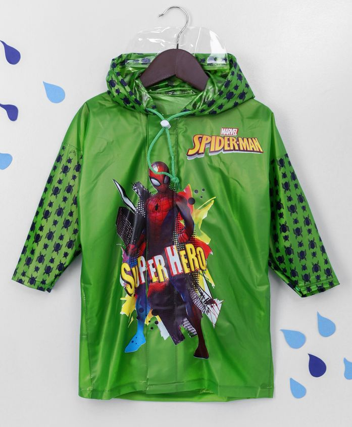 Babyhug Full Sleeves Hooded Raincoat Spider-Man Print - Green