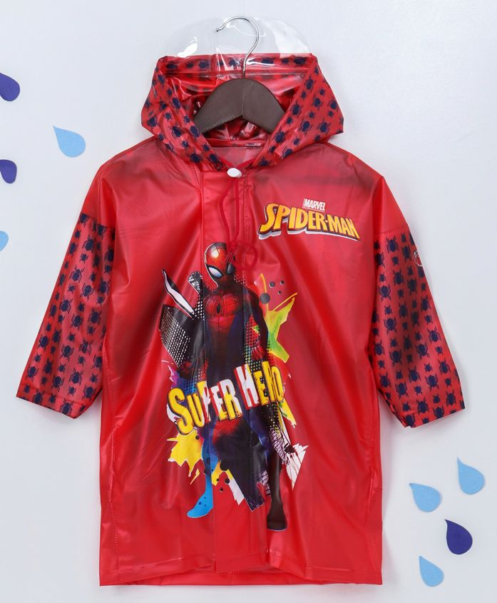 Babyhug Full Sleeves Hooded Raincoat Spider-Man Print - Red