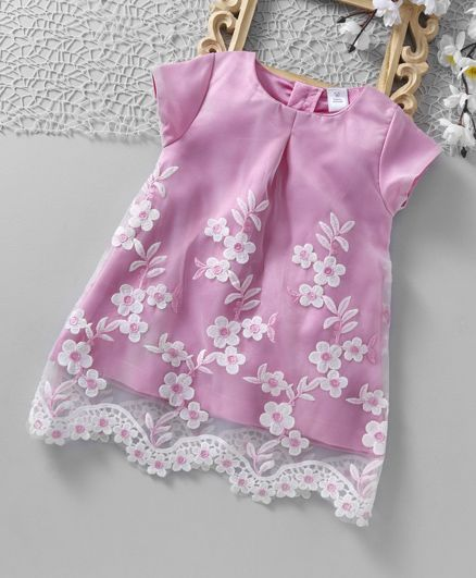 ToffyHouse Short Sleeves Floral Embroidered Party Frock - Pink