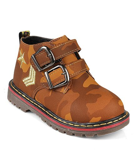 Kittens Camouflage Ankle Length Boots - Yellow