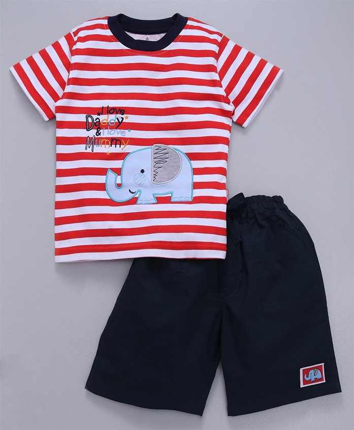 Child World Half Sleeves Striped T-Shirt With Shorts Elephant Patch - Red & Navy