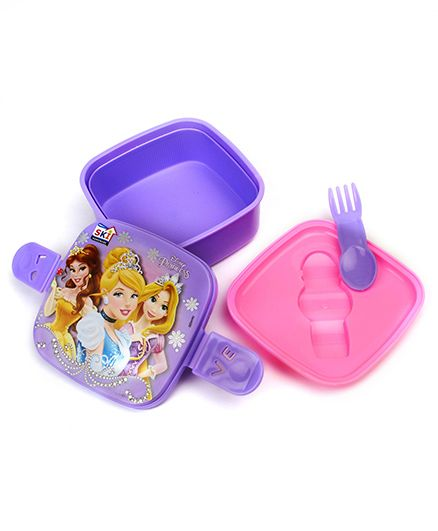 Disney Princess Lunch Box With 2 In 1 Fork & Spoon - Purple