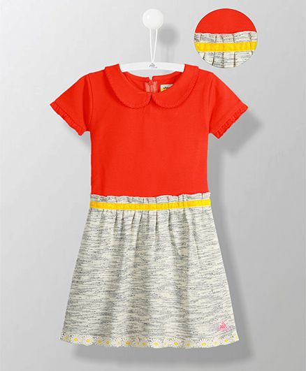 Cherry Crumble California Peter Pan Collar Pleated Dress - Red & Grey