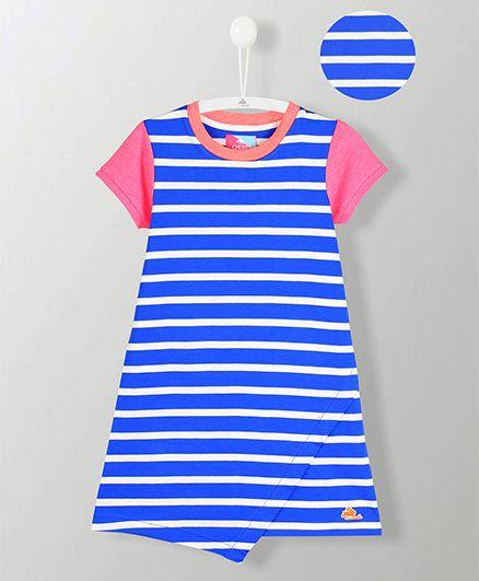 Cherry Crumble California Striped Slit Bottom Dress - Blue