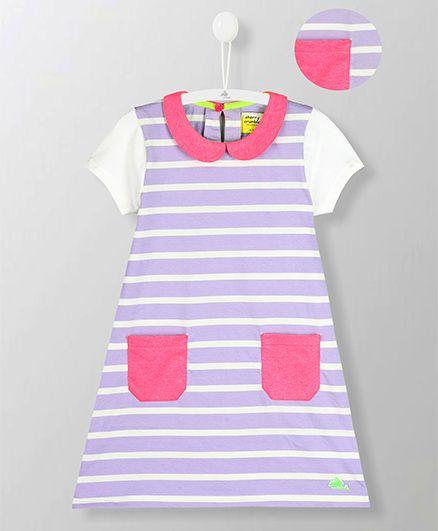 Cherry Crumble California Peter Pan Collar Striped Dress - Light Purple