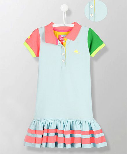 Cherry Crumble California Collared Dual Color Sleeves Dress - Light Blue