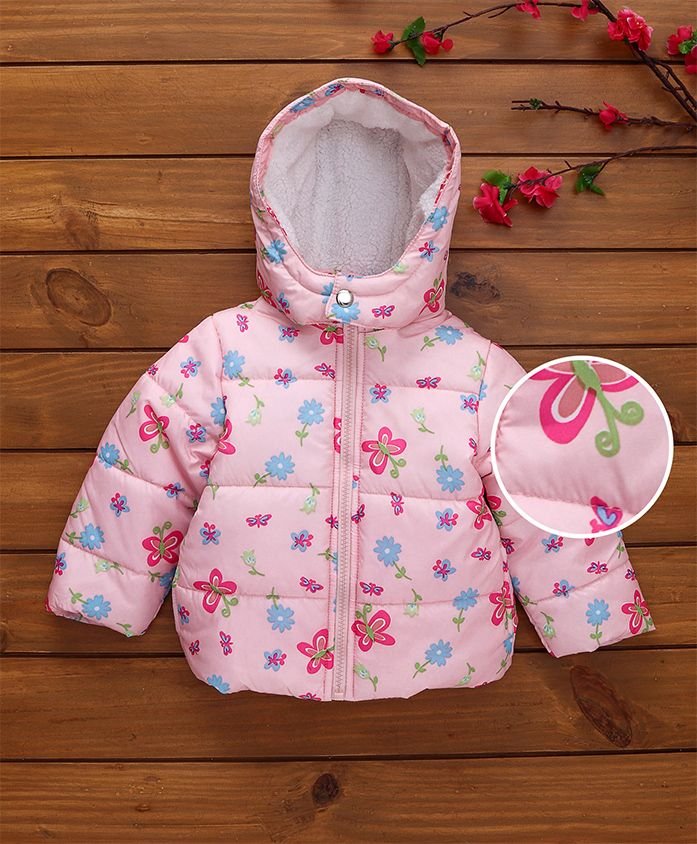 Babyhug Full Sleeves Hooded Jacket Butterfly Print - Light Pink