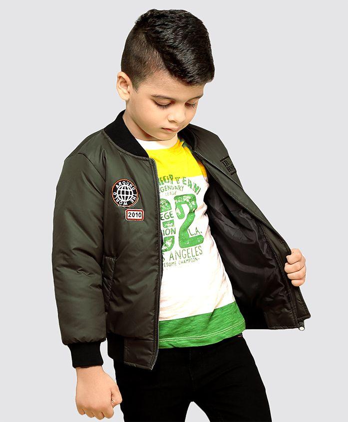 Babyhug Full Sleeve Jacket With Patch- Olive Green