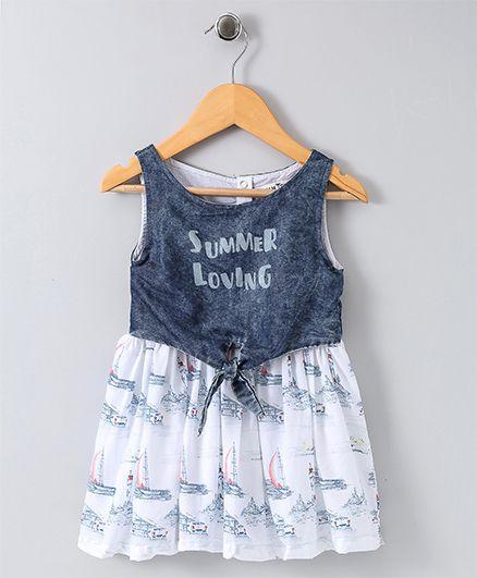 Plam Tree Sleeveless Party Wear Frock Summer Loving Print - White & Blue