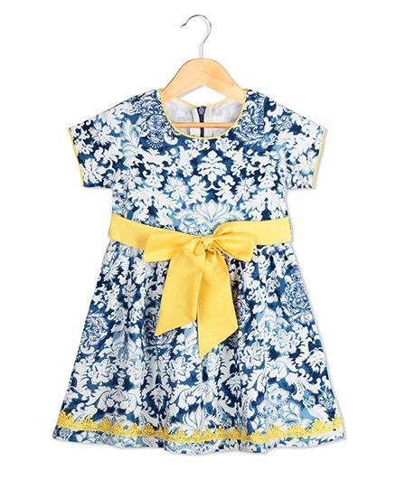 Sorbet All Over Design Print Dress - Blue