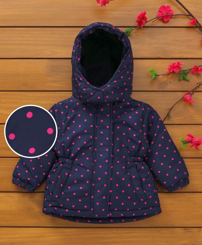 Babyhug Full Sleeves Hooded Jacket With Polka Dot Print - Navy