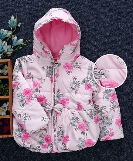 Babyhug Full Sleeves Floral Hooded Jacket - Light Pink