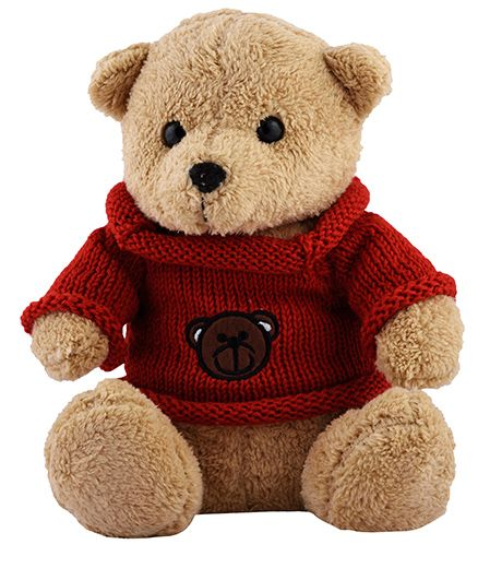 Curtis Teddy With Sweater Plush Toy Brown - Height 35 cm