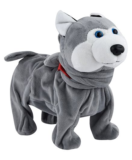 Curtis Toys Swiggy Wiggly Musical Plush Dog Toy Grey - Length 25 cm