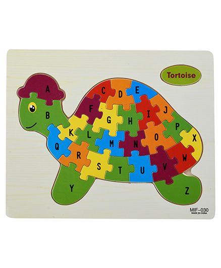 Curtis Toys Wooden Alphabetical Puzzle Turtle Shape - Multicolour