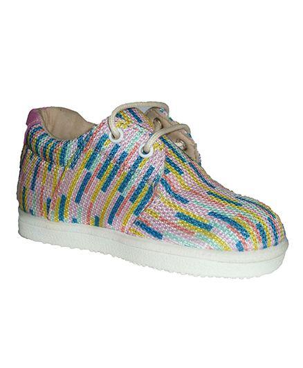 MOKS All over Color Stripe Print Shoes - Multicolor