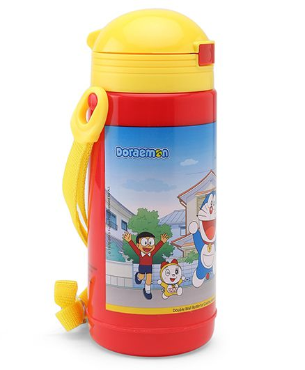 Doraemon Big Insulated Sipper Water Bottle Red & Yellow - 480 ml