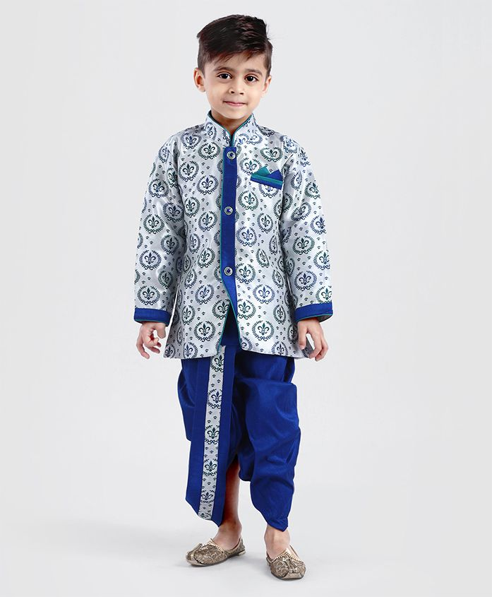 Babyhug Full Sleeves Printed Kurta With Dhoti - Royal Blue