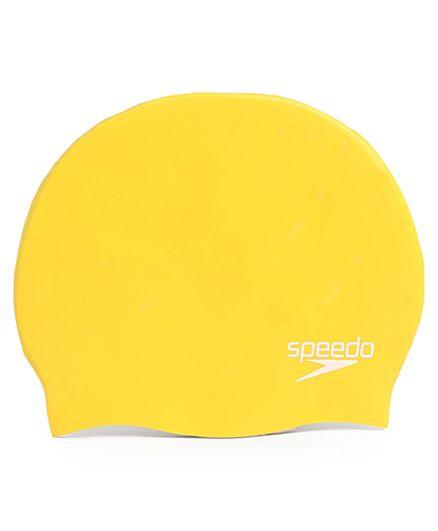 Speedo Junior Plain Moulded Silicone Swimming Cap - Yellow