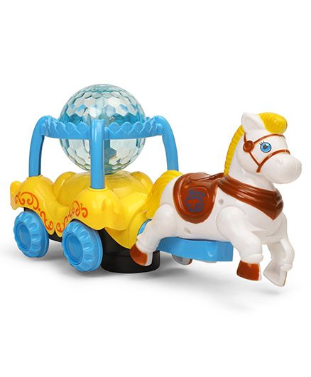 Dr. Toy Musical Horse Toy With Projector - Yellow And Blue