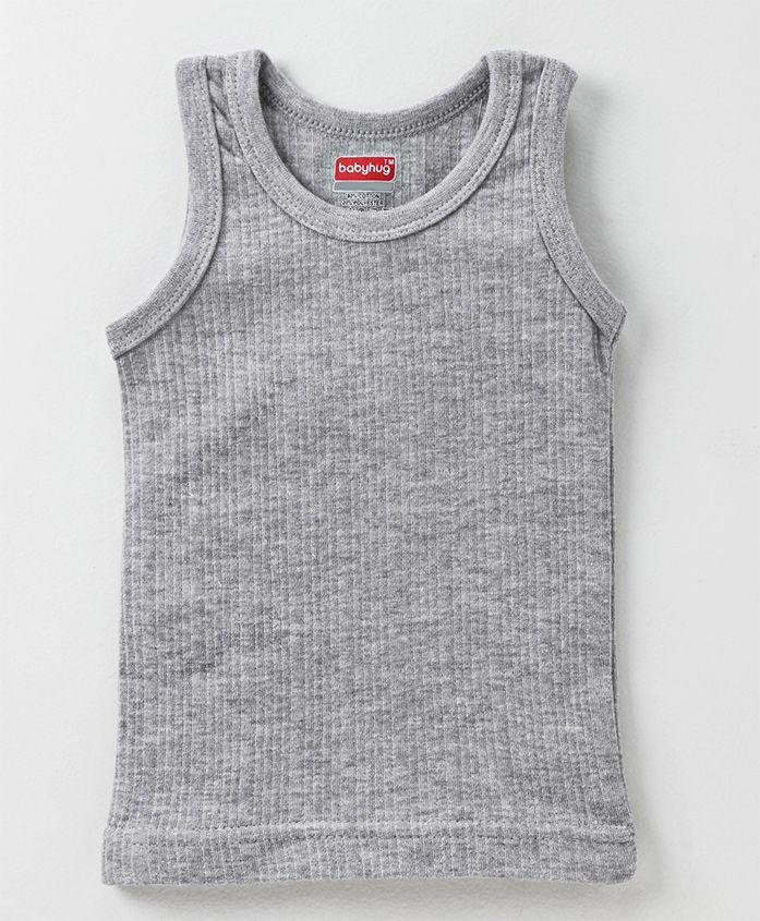 Babyhug Sleeveless Pullover Thermal Vest - Light Grey