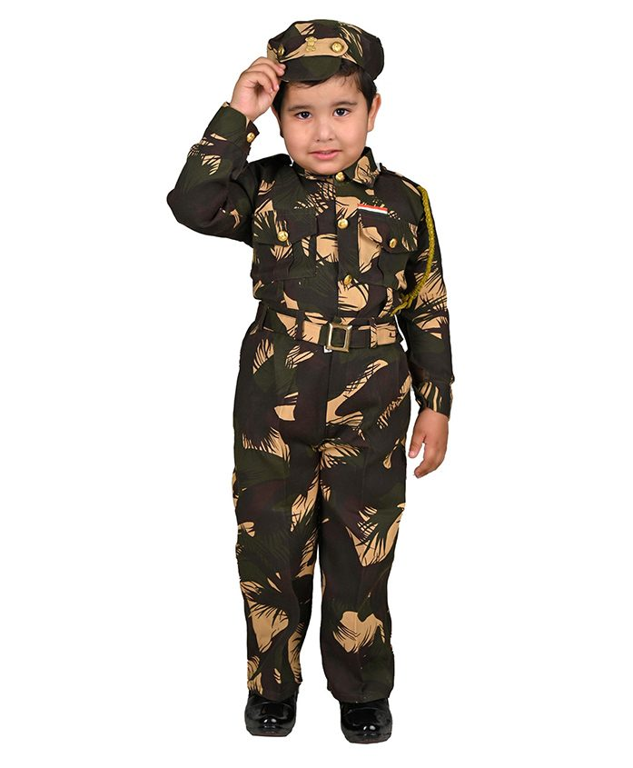 BookMyCostume Indian Para Military Special Forces Commandos Profession Fancy Dress Costume - Green