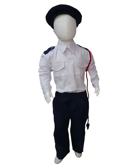 BookMyCostume Traffic Police Fancy Dress Costume - Blue & White