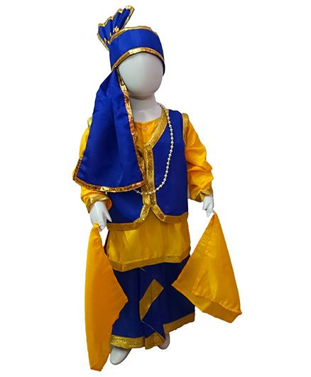 BookMyCostume Punjabi Folk Dance Costume Bhangra - Blue & Yellow