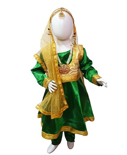 BookMyCostume Kathak Indian Classical Dance Costume with Heavy Jewellery Set - Green & Golden