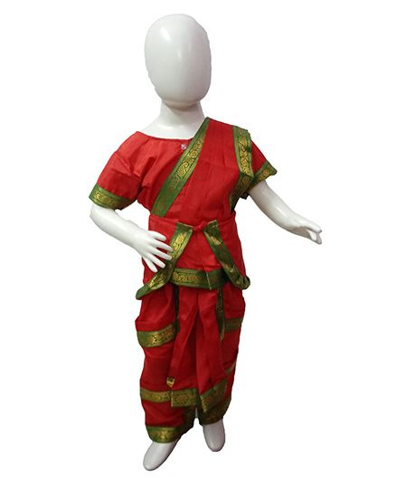 BookMyCostume Bharatanatyam Indian Classical Dance Costume - Red