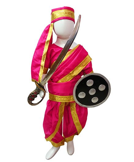 BookMyCostume Rani Laxmi Bai Jhansi ki Rani  Fancy Dress Costume with Accessories - Pink