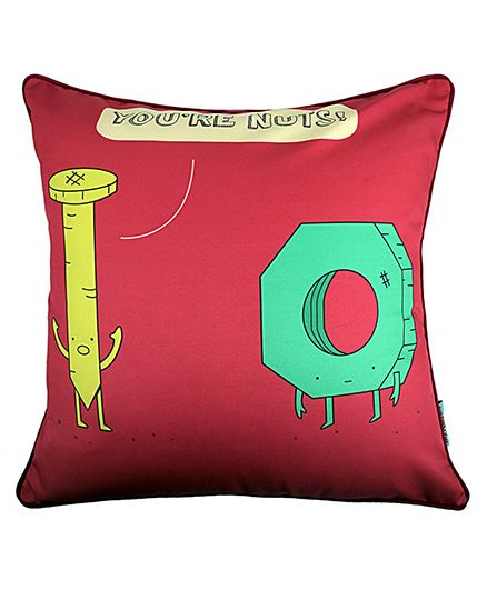 The Crazy Me Cushion Cover Nut Print - Red