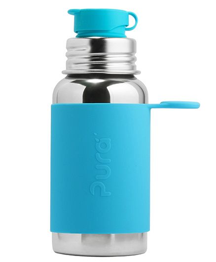 Pura Insulated Stainless Steel Sports Bottle With Silicone Cap Blue - 550 ml