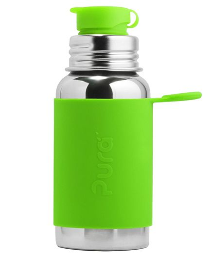 Pura Insulated Stainless Steel Sports Bottle With Silicone Cap Green - 550 ml