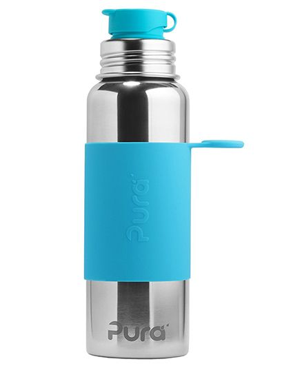 Pura Insulated Stainless Steel Sports Bottle With Silicone Cap Blue - 850 ml