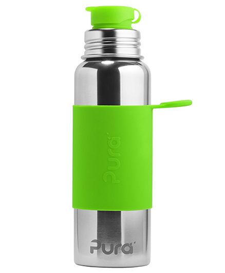 Pura Insulated Stainless Steel Sports Bottle With Silicone Cap Green - 850 ml