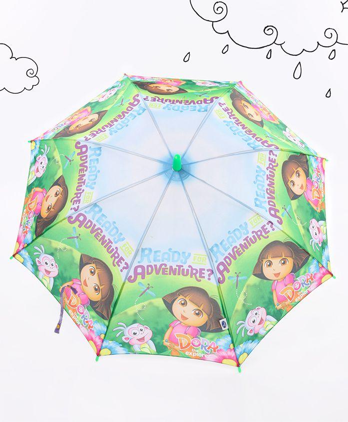Dora Printed Umbrella - Green Blue