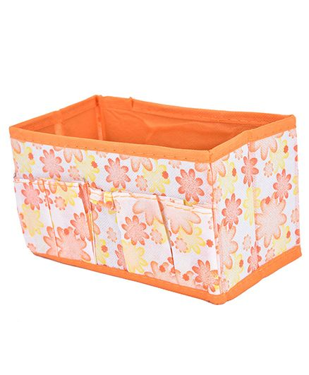 Home Union Foldable Desk Storage Box Organiser - Orange
